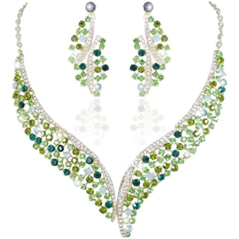 EVER FAITH® orecchini collana Ala Flower Set Gold-Tone verde austriaco di cristallo