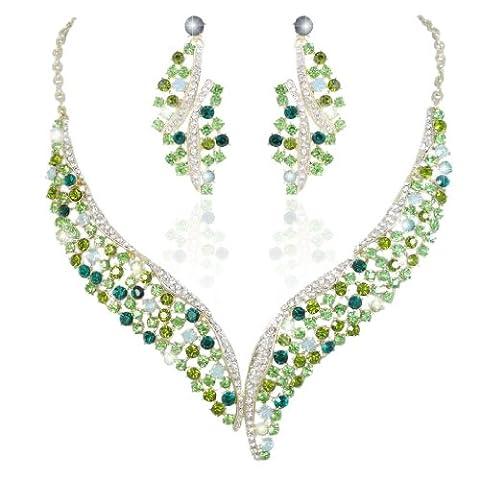 EVER FAITH® Aile Fleur Collier Boucle d'Oreilles Parures Ton d'Or Vert Cristal Autrichien N02405-5