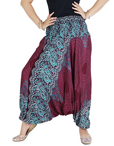 AuthenticAsia Damen Harem Hose Mehrfarbig mehrfarbig One size  Gr. One size , rot (Thermal Long Sleeve Floral)