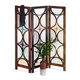 Native Home Paravent bunt, 3-teilig, faltbar, freistehend, aus Holz, Innenbereich, Raumteiler, H x B 180 x 150 cm, braun