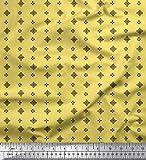 Soimoi Gelb Viskose Chiffon Stoff schwarz klein Motiv