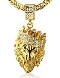 """Halukakah """"KINGS LANDING"""" Herren In 18 Karat Vergoldetete Edelstein Krone Löwe anhänger Halskette Fischschwanz 30""""/75cm Kette ist KOSTENLOS"""