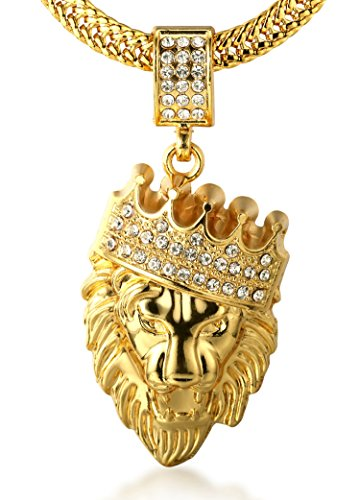【SEASON SALE】Halukakah Uomini 18K Placcato Oro Leone Corona Collana del Pendente