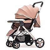 ZWL Poussettes Chariot De Bébé Lumière Parapluie De Voiture À Quatre Roues Collision Pliable Peut Être Allongé Chariots pour Enfants Poussette,Caqui