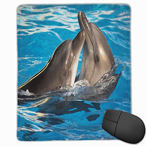 Lap-pool (Mouse Mat Stitched Edges, Aqua Show Pair Of Valentines Dolphins Dancing In Pool Animal Tenderness Love,Gaming Mouse Pad Non-Slip Rubber Base)