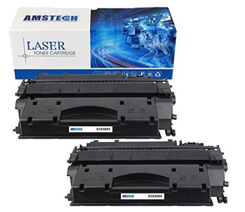 2 Pack Amstech kompatibel toner CE505X Schwarz Tonerkartusche replacement fuer HP LaserJet...