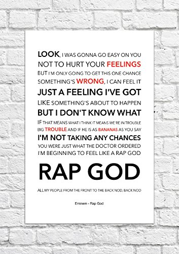 Eminem–Rap Gott–Songtext, Poster, ungerahmt