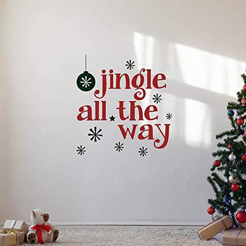 TYLPK Weihnachtszitat Fensteraufkleber klingeln bis zur Weihnachtsdekoration Schwarz 60cm B x 63,5cm H