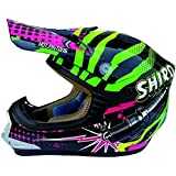 Cross Casco niño SHIRO MX-ROCKID 306, color negro y verde