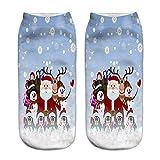 URIBAKY Weihnachtsdruck Baumwollsocken,3D niedlicher Druck Weihnachten 4 Paare aus Baumwolle Socken-Kombination lässige Socken niedrig um zu helfen flacher Mund Baumwollsocken