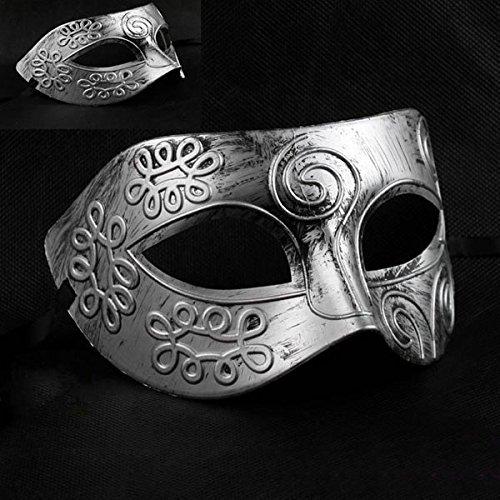 Tinksky Männer griechische römische Kämpfer Gesicht Karnevalsmaske für Maskenball Halloween (Silber)
