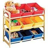 Premier Housewares PRIME - Estantería de madera de 3 pisos para habitación infantil, 9 compartimentos de plástico, 64 x 30 x 65cm, multicolor