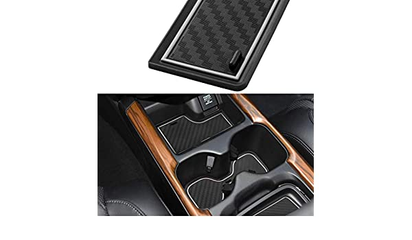 Door and Center Console Liner Accessories for 2020 2019 2018 2017 Honda CR-V Carbon Fiber Pattern - White JIECHEN Custom Fit Cup Holder