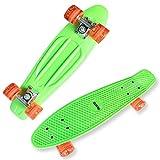 Datechip Skateboard per Bambino Principiante - Mini Skateboard in Plastica 55CM Ruote PU Trasparenti Skate Completi Kids, Green