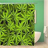 Awowee Decor Duschvorhang Marihuana Blätter Muster Cannabis Pflanze Grün Dichte Vegetation 180 x 180 cm Polyester Stoff Wasserdicht Badvorhänge Set mit Haken für Badezimmer