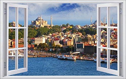 DesFoli Istanbul Türkei Land 3D Look Wandtattoo 70 x 115 cm Wanddurchbruch Wandbild Sticker Aufkleber F555 (Land-wand-dekor-aufkleber)