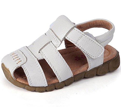 Unisex-Kinder Junge Sandalen aus weichem Leder Lauflernschuhe Outdoor Trekkingsandalen (25: Innerlänge:15.2cm, Weiß)