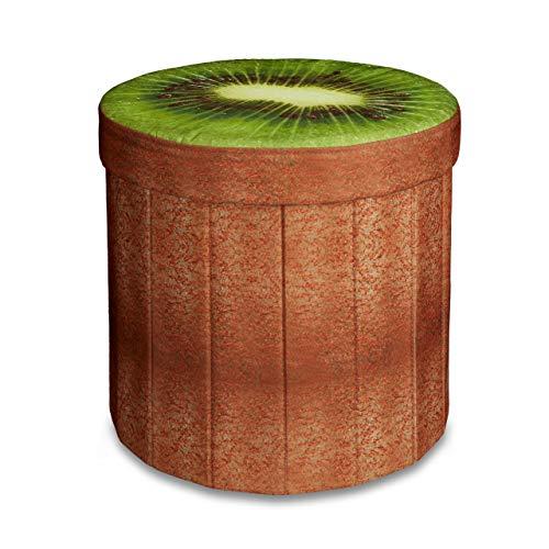 Relaxdays faltbarer Sitzhocker mit Stauraum HBT ca. 38 x 38,5 x 38,5 cm Sitzwürfel runder Hocker mit trendigem Obst Motiv Falthocker Sitzbank mit Aufbewahrungsbox mit ca. 30 l Stauraum, Kiwi