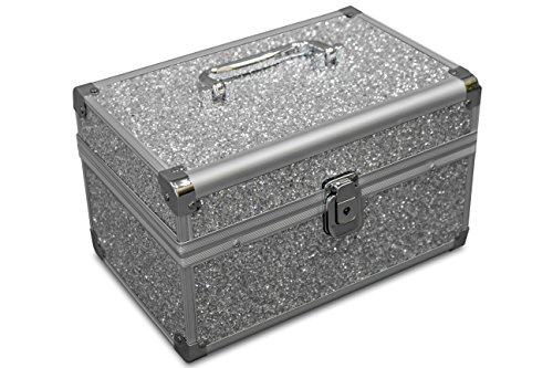 MARELIDA® Schmuck-Kästchen in Silber | Glitzer-Optik | Premium Schmink-Beauty-Koffer - klappbaren Fächer | Edel in Form & Design | Ideal als Geschenk
