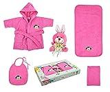 Babyset Kinderset 5 tlg. Bademantel, Badetuch, Waschhandschuh, Lätzchen, Stofftier verschiedene Designs (Affe - pink)