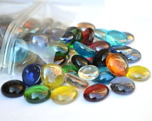 1kg Pack of Round Decorative Glass Pebbles / Stones / Beads / Nuggets / Gems / Mosaic Tiles (Mixed Colour)