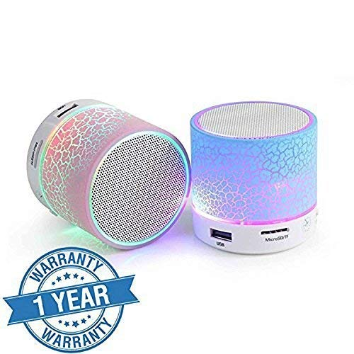 odestro Wireless LED Bluetooth Speakers Handfree with Calling Functions & FM Radio for All Android & iPhone Smartphones (One Year Warranty, Assorted Colour)