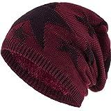 Compagno Sternen Wintermütze warm gefütterte Beanie Flechtmuster Einheitsgröße Mütze, Farbe:Dunkelrot