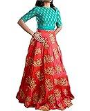 Market Magic World Women's Tissue Net Semi-Stitched Lehenga Choli (Orange & Firozi_Free Size)