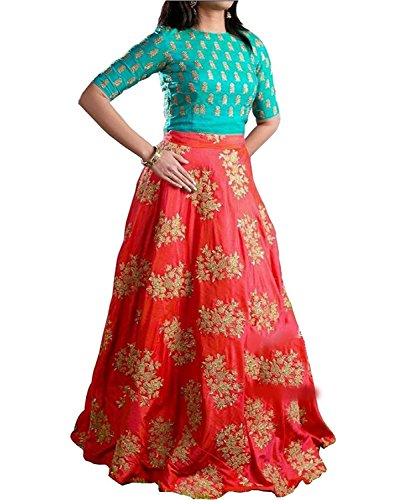 Market Magic World Women's Tissue Net Semi-Stitched Lehenga Choli (Orange & Firozi_Free...