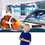 Altsommer Fernbedienung Fliegendes Hai-Spielzeug mit Erstickungsgefahr für Kinder Spielzeug,RC Hai-Ballon mit dem Schwanz kann schwingen,360-Grad-Drehsteuerung,Steigflug, Abstieg (Blau)