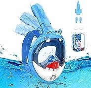 Maschera Subacquea,Maschera Snorkeling Bambini con Visuale Panoramica 180° Design Pieno Facciale Anti-Appannam