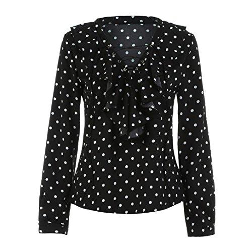 AmazingDays Chemisiers T-Shirts Tops Sweats Blouses,Femme Chemise à Manches Longues de Printemps Automne Polka Dot V Cou Shirt Haut Black