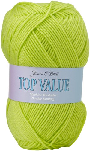 100g Top Value Double Knitting Yarn by James Brett (Lime Green 8445)