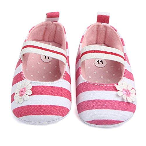 Igemy 1Paar Säugling Streifen Blume Schuhe Soft Sole Kinder Mädchen Baby Anti-Rutsch Baby Schuhe Pink
