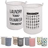 LessMo 2PCS 17.7' Wäschekorb Sortierer - Faltbar - 2er Set Wäschesammler spart Zeit beim Sortieren - Wäschesack - Wäschekörbe - Laundry Baskets - 45 x 35 cm (Weiß, Verdickt 17,7'/ Medium)