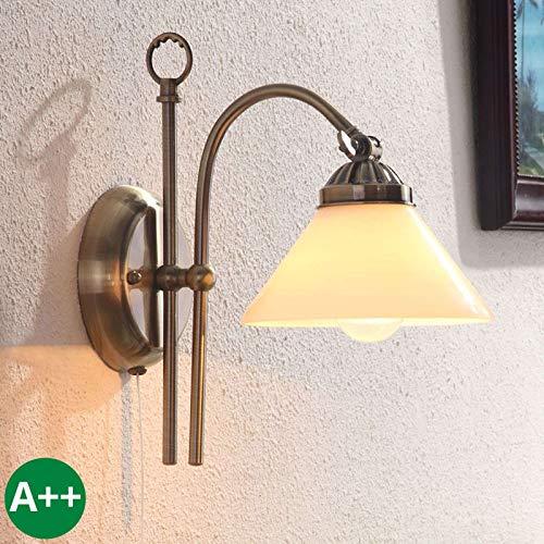 Lindby Wandleuchte, Wandlampe Innen 'Otis' dimmbar (Retro, Vintage, Antik) aus Glas u.a. für Flur & Treppenhaus (1 flammig, E14, A++) - Wandstrahler, Wandbeleuchtung Schlafzimmer/Wohnzimmer