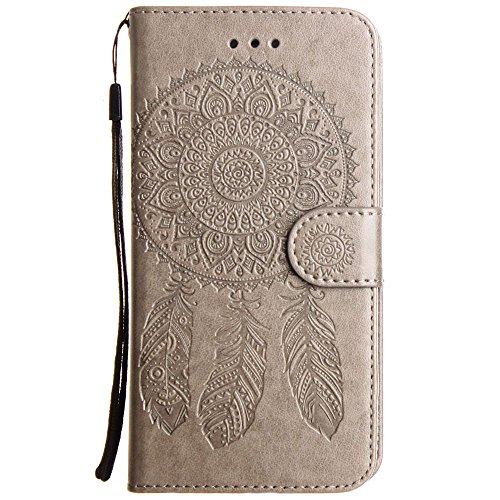 CellularOutfitter Apple iPhone 7 Leather Wallet Case - Embossed Dreamcatcher Design w/ Matching Detachable Case and Wristlet - Purple Gray