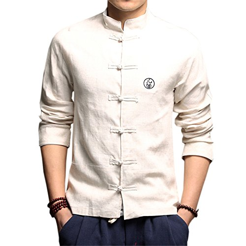 Großer Kragen Jacke (DaDag- Chinesisches Hemd Herren Slim Fit Blusen Groß Größe Freizeithemd Klassisch LangarmhemdMeditations Shirt Jacke (L, Beige))