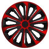 (Größe wählbar) 14 Zoll Radkappen / Radzierblenden STRONG Bicolor (Schwarz-Rot) passend für fast alle Fahrzeugtypen – universal