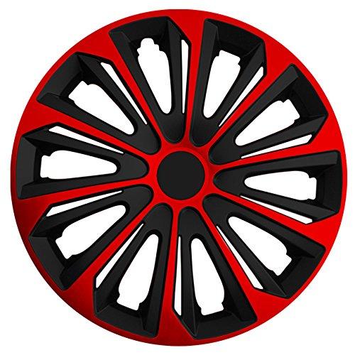 (Größe wählbar) 16 Zoll Radkappen / Radzierblenden STRONG Bicolor (Schwarz-Rot) passend für fast alle Fahrzeugtypen – universal