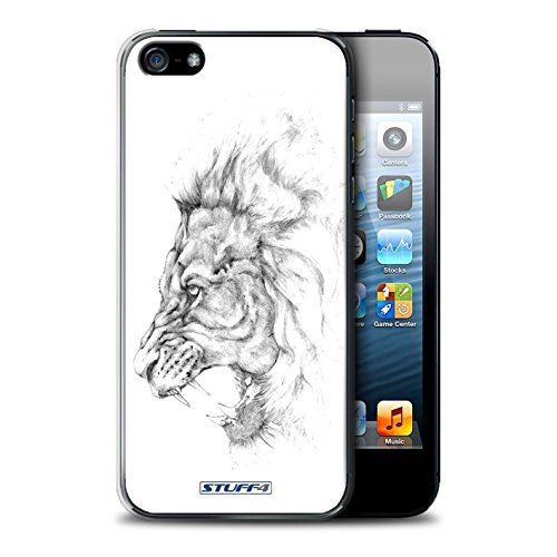 Stuff4 Hülle / Case für Apple iPhone 7 Plus / Pferd Muster / Skizze Zeichnung Kollektion Löwe