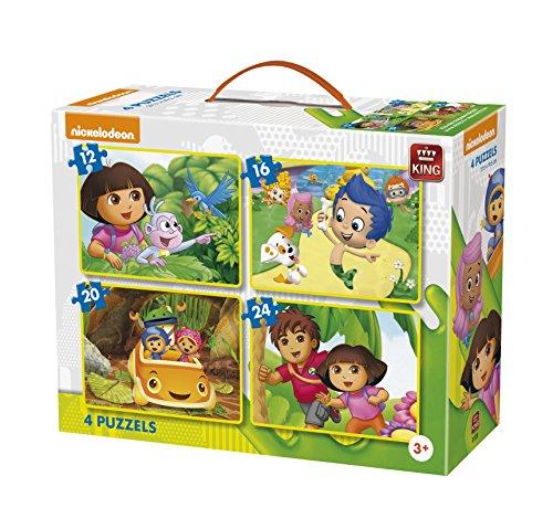 King Nickelodeon 4in1 Puzzle 12pieza(s) - Rompecabezas (Jigsaw Puzzle, Dibujos, Niños, Nickelodeon, Dora, Diego, Bubble Guppies, Team Umizoomi, Niño/Niña)