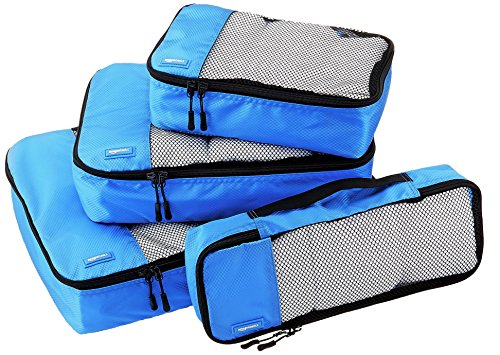 AmazonBasics Packing Cubes - Small, Medium, Large, and Slim (4-Piece Set), Blue