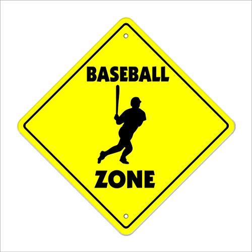 SignMission Baseball Crossing Sign Zone Xing |-| 30,5cm Hoch Player Fan Jungen Raum Team Coach Bat Handschuhe Softball -