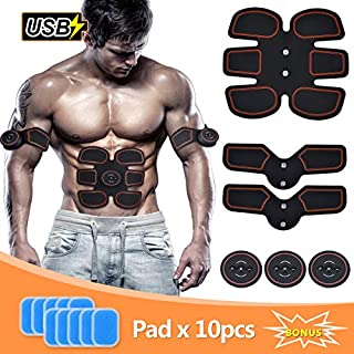 SLB Abs Trainer, USB Rechargeable Muscle Stimulator, Ab Toner with 6 Modes & 10 Intensities for Home Fitness & Gym Workout, ABS Stimulator for Men and Women with 10 Piece Replacement Gel Pads