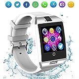 ZRSJ Bluetooth Smart Uhr Q18 Touchscreen mit Kamera SIM / TF Schrittzähler Fitness Tracker Smartphones für Android IOS Samsung Motorola Männer Frauen Kinder (White)