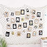 Tebrun Filet de Peche Décoratif Galerie Photo à Accrocher pour Maison, Partie, Photographie et Restaurant et Plus, avec 40 Clips et 8 Clous(Fishing Net Size:200x100cm)
