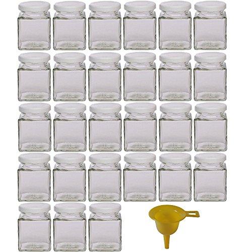 Viva-Haushaltswaren - 27 kleine Marmeladengläser / Gewürzgläser 106ml mit weissem Deckel