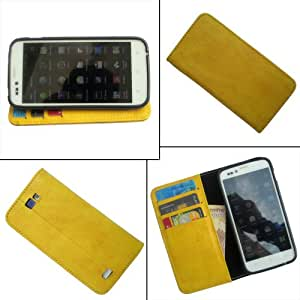 i-KitPit - PU Leather Wallet Flip Case Cover For Samsung Galaxy S4 Mini (YELLOW)