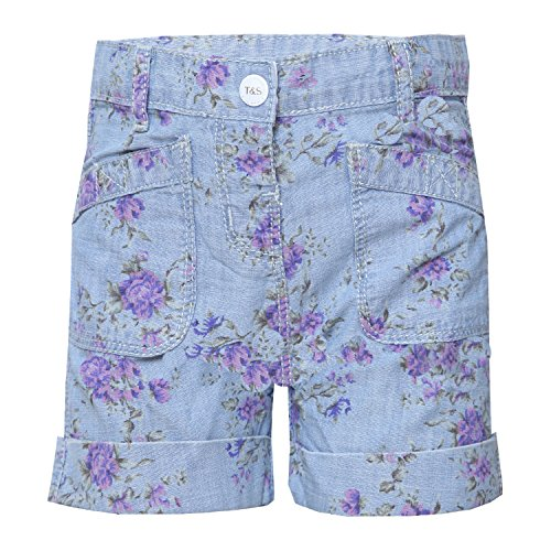 Tales & Stories Baby Boys Floral Print Denim Shorts